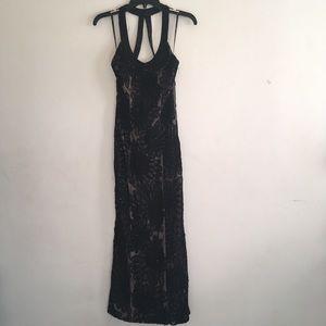 Sue Wong black & nude sequin & floral detail Gown